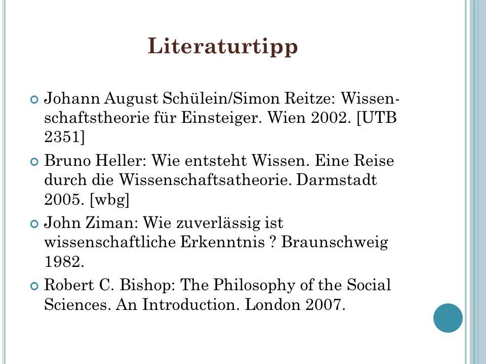 Literaturtipp Johann August Schülein/Simon Reitze: Wissen- schaftstheorie für Einsteiger. Wien 2002. [UTB 2351]
